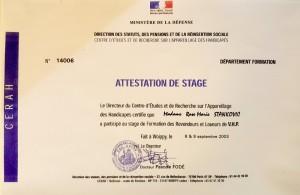 Attestation Ministère de la Défense