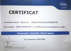 Certificat Fauteuils roulants électriques Invacare