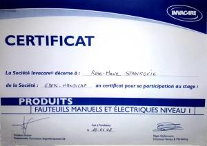 Certificat Fauteuils roulants manuels et électrique niveau 1 Invacare